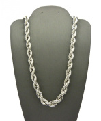 Unisex Hip Hop/Rap Style 8mm 76cm Rope Chain Necklace in Silver-Tone
