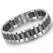 Flongo Men's Punk Rock Stainless Steel Healthy Magnetic Ceramic Link Wrist Chain Bracelet, 21cm