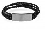 Gents Stainless Steel Plaited Surfer Bracelet Leather Bracelet Black Modern, New