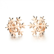 Scorpios Fashion Jewellery Snowflake Shape Rose Gold Plated Stainless Steel Women's Stud Earrings