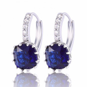GULICX 925 Sterling Silver Huggie Hoop Earrings Blue Square Princess Cut Sapphire Colour Stone Zircon