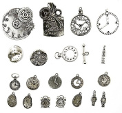 Alloy Watch Clock Part Pendants Charms Jewellery Making Antique Silver Set of 19pcs