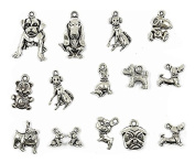 15pcs Puppy Dog Pattern Alloy Pendants Charms Antique Silver