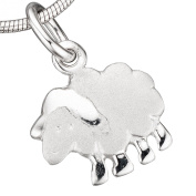 JOBO Children's Sheep Charm 925 Sterling Silver Rhodium-Plated Partially Matted