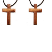 Olive Wood Cross Pendent Necklace Leather Cord Made In Bethlehem Set Of 2 Sterling Gifts