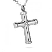 HooAMI Stainless Steel Silver Cross Pendant Cremation Memorial Keepsake Pendant Necklace 3.7x2.3mm