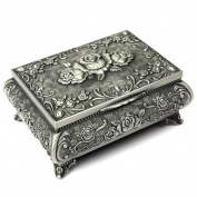 H & S® Metal Antique Ring Necklace Jewellery Trinket Display Storage Vintage Box Case - 3