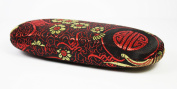 Black, Red and Gold Silk Embroidery, Decorative Glasses Case