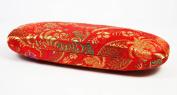 Red Multi Floral Silk Embroidery, Decorative Glasses Case