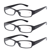 3 PRS of Southern Seas Stylish Black +2.50 Reading Glasses Mens Womens Flexible Spectacles
