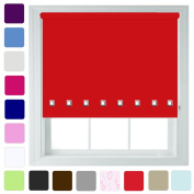 """Quality Blackout Roller Blinds With Chrome Square Eyelets EASY-instal Free Alterations Any Size up to 240cm Metal Fittings Included - Red, 60cm/23.6"""""""