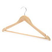 Drakes Display Large 44cm Garment Coat Clothes Hangers with Trouser Bar, Natural Wood, Pack of 100