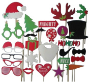 27Pcs DIY Photo Booth Props Moustache Lip Hat Antler Stick Christmas Gift Party