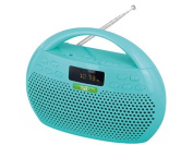Trevi KB 308 FM Stereo Radio/MP3 Player with Bluetooth Connectivity and Handsfree Function - Micro SD Card/USB/AUX - Aqua Green