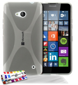 """MUZZANO Original Flexible Ultra-Slim Shell Case with """"X"""" in Grey for MICROSOFT LUMIA 640 Original Protection Premium Quality, DURABLE, elegant and optimum 3 Screen Protectors Transparent Ultra - 1 2.5cm , Stylus and Cleaning Cloth free"""