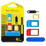 Aerb 5-in-1 Nano SIM Card to Micro/Standard SIM Card Adapter Converter Kits with Sim Card Folder and Needle