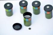 5 x Magnetic Filmdose with waterproof and Logstreifen Sticker-Geocaching den Neodymium