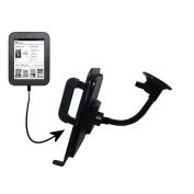 Unique Suction Cup Mount for the Barnes and Noble Nook Simple Touch Tablet with Integrated Gooseneck Cradle Holder