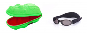 Baby Gift pack Sunglasses case Green Crocodile and Babybanz Black Sunglasses 0-2 years