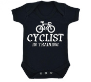 Cyclist In Training Design Baby Bodysuit Black with White Print
