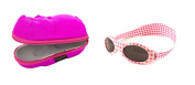 Baby Gift pack Sunglasses case Pink Hippopotamus and Babybanz Pink Cheque Sunglasses 0-2 years