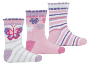 3 Pairs TICKTOCK Baby Girls Design Socks Cotton Rich Cute Bright Glitter Newborn