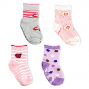 Baby Socks SK-06c for Girls ABS Anti-Slide Socks, Colourful Cute Mix, Pack of 4 Pairs, Size L