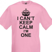 I Can't Keep Calm I'm One funny cotton Tshirt Boys 1st Birthday 1-2 Years Light Pink