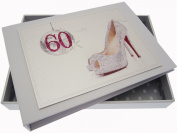 White Cotton Cards 60th Birthday Tiny Album Glitter Ball and Shoes