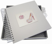 White Cotton Cards 21st Birthday Card and Memory Book Glitter Ball and Shoes