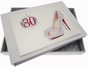 White Cotton Cards 30th Birthday Tiny Album Glitter Ball and Shoes