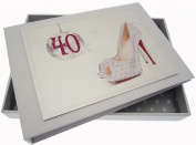 White Cotton Cards 40th Birthday Tiny Album Glitter Ball and Shoes
