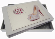 White Cotton Cards 21st Birthday Tiny Album Glitter Ball and Shoes