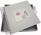 White Cotton Cards 30th Birthday Card and Memory Book Glitter Ball and Shoes