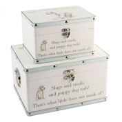 SET OF 2 STORAGE CASE BOYS BABY KEEPSAKE CHRISTENING GIFT TRUNK CHEST MEMORIES