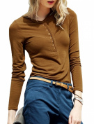 Women V Neck Long Sleeves Pullover Half Placket Slim Fit Casual Top