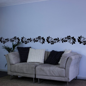 Floral Curves Vinyl Wall Art Decal Border for Interior Design