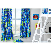 Alphabet Design Children's Bedroom Curtains 170cm x 140cm with Tie Backs