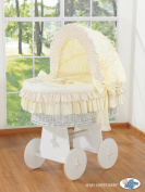 TEDDY BEAR WHITE WICKER CRIB MOSES BASKET BASSINET WITH HOOD SOLID WHITE WOOD BASE AND CREAM BEDDING