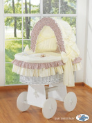 TEDDY BEAR WHITE WICKER CRIB MOSES BASKET BASSINET WITH HOOD SOLID WHITE WOOD BASE AND CREAM/BROWN BEDDING