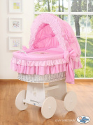 TEDDY BEAR WHITE WICKER CRIB MOSES BASKET BASSINET WITH HOOD SOLID WHITE WOOD BASE AND PINK BEDDING