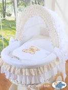TEDDY BEAR WHITE WICKER CRIB MOSES BASKET BASSINET WITH HOOD SOLID WHITE WOOD BASE AND WHITE/CREAM BEDDING