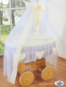 DE LUXE HEART COLLECTION - WHEELED LARGE WICKER CRIB / MOSES BASKET / BASSINET / BABY COT WITH DRAPE / CANOPY NET - SOLID ANTIQUE PINE BASE + QUALITY CREAM BEDDING SET + QUALITY MATTRESS + CANOPY NET HOLDER