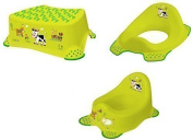 Set of 3 Funny Farm Potty Toilet Seat Adapter Stool Toilet Trainer Grass Green