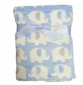 Supersoft Superior Luxurious Quality Blue With Cute Elephants Pram/Crib Blanket