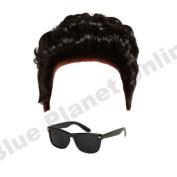 Mens Greaser Teddy Boy Wig & Black Sunglasses 1950s Fancy Dress