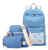 Fashion Floral Pattern Canvas Rucksack Teenager Girls School Bag 37cm Laptop Backpack + Messenger Bag + Purse