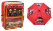 Bundle deal - Fireman Sam - Backpack & Umbrella - Jupiter Pride of Pontypandy