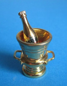 Wine / Champagne Bottle Cooler with Gold 2 Pieces for Doll House Miniature 1:12