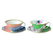 Wedgwood Butterfly Bloom Tea Story Teacup and Saucer, Blue Peony and Posy, Set of 2